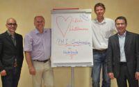 Referenten (v.l.) Olaf Schweizer, Patrick Schmid (Geschäftsführer PS Consulting), Philipp Hallermann,  und Dr. Michael Tangemann
