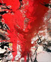 """Bild und Feuerstele """"Ein Herz für Kinder"""" vom Maler Cornelius Richter, 2012, Acryl Gouache, Schüttbild auf Leinwand, 250 X 200 cm"""