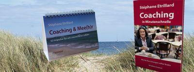 """Buch """"Coaching in Minutenschnelle"""" und Aufsteller """"Coaching & Mee(h)r"""""""