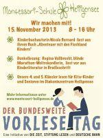 Plakat für den Vorlesetag an der Montessori-Schule Heiligensee