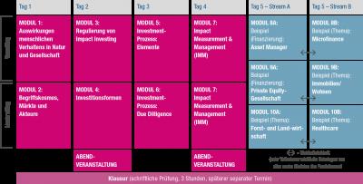 Programmstruktur des Kompaktstudiums Impact Investing