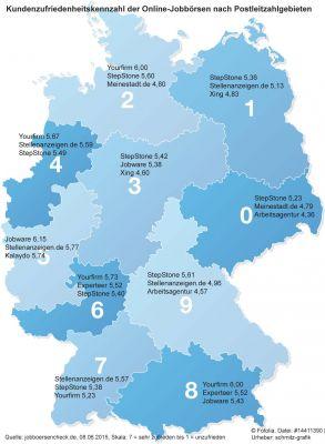 Berücksichtigt wurden allgemeine, branchenunabhängige Online-Jobbörsen mit mindestens 15 Bewertungen im jeweiligen PLZ-Gebiet.