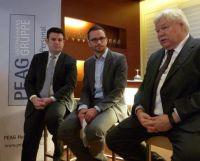 v.l.: Hubertus Heil, Dr. Thomas Vitzthum (Moderation) und Prof. Dr. Horst Hippler bei der PEAG Personaldebatte zum Frühstück