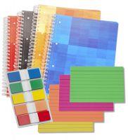 Collegeblocks, Karteikarten und Haftnotizzettel für die Klausurvorbereitung
