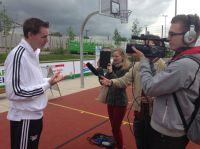 Frank Busemann (Silber 1996), ehemaliger Olympionike, vor der Kamera der MHMK Sport-Journalisten