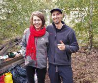 Benjamin Arlet und Ronja von Rönne bei den Dreharbeiten