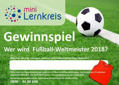 Schulen und Sportvereine können über die Teilnahmekarten des Mini-Lernkreises ihren Tipp für den Fußball-Weltmeister 2018 abgeben.