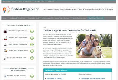 Screenshot der Webseite tierhaar-ratgeber.de