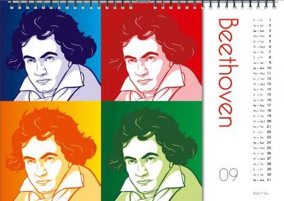 """33 Komponisten-Kalender, 99 Musik-Kalender, 33 Bach-Kalender: Beethoven in einer """"Kombination"""" aus Comic und Warhol: Cool."""
