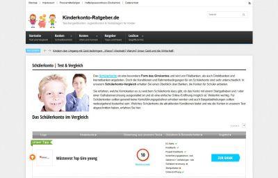 Screenshot der Webseite kinderkonto-ratgeber.de