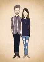 Dei Illustraten gestalten individuelle, romantische Portraits, als Wandbild oder für die Hochzeitseinladung