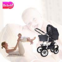 Bebebi | Modell Bellami | 3 in 1 Kinderwagen Set mit Luftreifen oder Hartgummirreifen in Bellagrey (Grau)