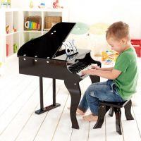 Kindergeschenk: Wunderschöner Spielzeug Flügel mit Hocker, Schwarz, von Hape