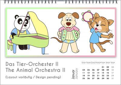 """Der günstige Musik-Kalender unter den 33 Musik-Kalendern für Kinder des Verlags """"Bach 4 You"""": Das lustige Tierchen-Orchester."""