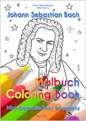 Das Malbuch mit Mini-Biografie über Bach für Kinder ist zweisprachig: Kindgerechter kann man Bach nicht kennen lernen.