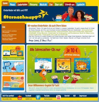 Die neue Internetpräsenz des Kinderlieder-Verlages Sternschnuppe