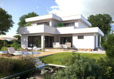 Vermehrt setzen Bauherren bei der Planung des Eigenheims auf kompakte Bauformen und Flachdach. (Foto: HANLO Haus)