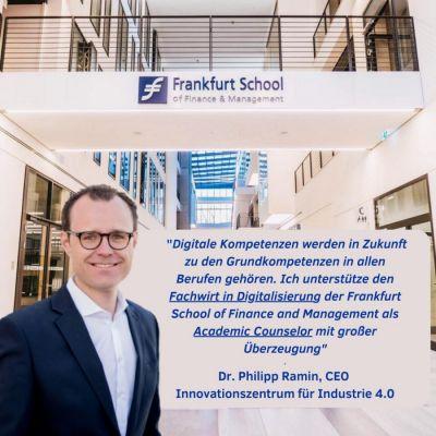 Dr. Philipp Ramin, Academic Counselor für den Fachwirt in Digitalisierung , CEO Innovationszentrum für Industrie 4.0