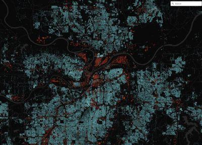 Interaktive Visualisierung von Kansas City - die Gebäudeumrisse entstammten Satellitenfotos und werden automatisch extrahiert.