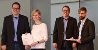 Die Preisträger Lisa Möcking und Alexander Zimmermann bei der Preisverleihung mit Björn Stütz vom aufnet Verein.