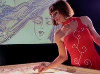 Beeindruckende Sandmalerei Show boten Künstler für Firmenevent