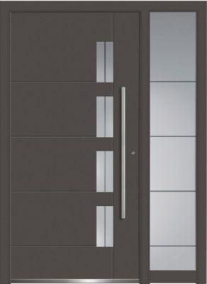 Aluminium-Haustür mit Seitenteil, Serie Concept Class Modell Luca in der Farbe DB 703.   Foto: Wirus-Fenster