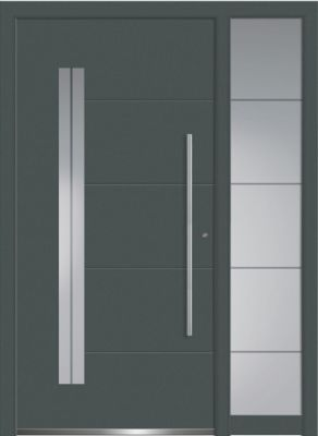 Aluminium-Haustür mit Seitenteil, Serie Concept Class Modell Acor mit Designglas in RAL7012.   Foto: Wirus-Fenster