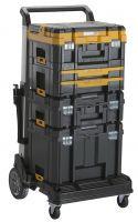 Mit dem zusammenklappbaren DEWALT Trolley DWST1-71196 lassen sich max. 100 kg transportieren und die TSTAK-Boxen sicher befestigen