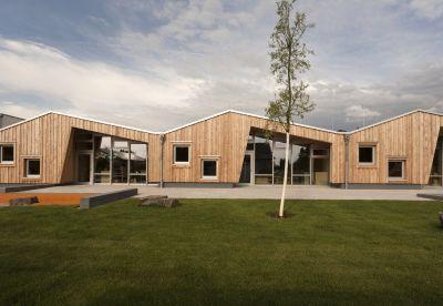 """Im Neubaugebiet Geislar-West im Bonner Norden wurde jetzt die Kindertagesstätte """"Rhein-Dampfer"""" in Holzbauweise errichtet."""