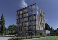 Der Neubau der shopware AG erhält ein Vorzertifikat der Deutschen Gesellschaft für Nachhaltiges Bauen. Visualisierung: Brüninghoff