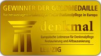 Die Goldmedaille der denkmal. Eine begehrte Auszeichnung für herausragende Leistungen im europäischen Denkmalschutz.