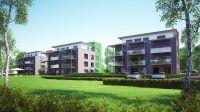 """Passivhausstandard: Drei Mehrfamilienhäuser in Bauabschnitt 7 legen den Grundstein zur Klimaschutzsiedlung """"Mühlenberg"""" (Kleve)."""