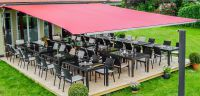 Das Sunshield bietet bis zu 40% mehr Platz für Ihre Gäste. Bis zu 84m² Schatten möglich.