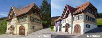 Das hundertjährige Raitenbucher Rathaus vor und nach der Sanierung.