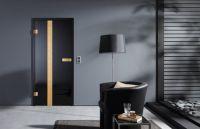 Foto: Glastür Serie Metallon Modell Aurum Solid black mit 24 Karat Blattgold. Foto: Dorma