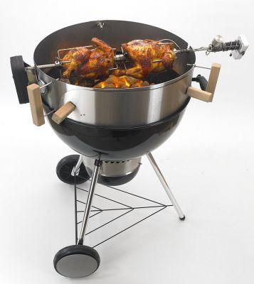 Mit dem Rotisserie-Set für den Smokin' PizzaRing wird der Kugelgrill zum Drehspieß!
