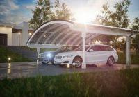 Elegant Energie sparen: Solar-Carport Modell mit Bogendach von Solarterrassen & Carportwerk
