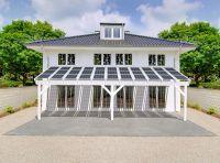Dieses innovative Terrassendach produziert genug Strom für einen 4-Personen-Haushalt. Foto: easyterrasse.de