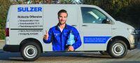 """Sulzer stellt seine Schmutzwasserpumpen mit dem """"Robusta-Mobil"""" seit August bundesweit beim Sanitär- und Heizungsgroßhandel vor."""