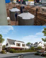 In den beiden 10.000-Liter-Tanks wird die für den Wärmebedarf des Doppelhauses die benötigte Energie zwischengespeichert.