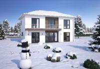 Moderne Architektur und eine energieeffiziente Bauweise tragen im Winter zu einem hohen Wohnkomfort bei.(Foto: Hanlo Haus)