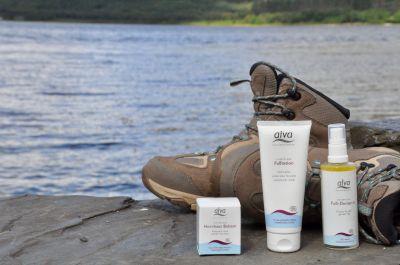 """Die """"Drei"""" von der alva-Fußpflege: Hornhautbalsam, Fuß-Deospray und Fußlotion"""