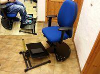 Ergonomischer Bürodrehstuhl für Rollstuhlfahrer mit Bremse