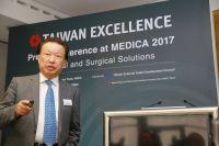 Peter Wu, Präsident der AmCad BioMed Corporation, bei der Pressekonferenz von Taiwan Excellence.