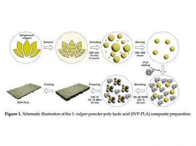 Schematische Darstellung der Komposit-Herstellung (SVP-PLA)