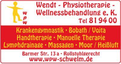 WPW Wendt-Physiotherapie-Wellnessbehandlung e.K