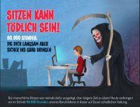 """Die Infografik """"Sitzen kann tödlich sein!"""" zeigt deutlich: Wer lange sitzt, muss mit gesundheitlichen Konsequenzen rechnen."""