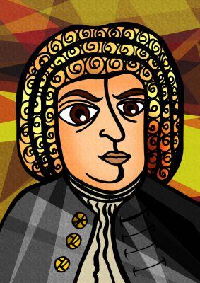 Grundlage für ein Bach-T-Shirt ist natürlich eines von runden 150 Portraits von Johann Sebastian Bach.