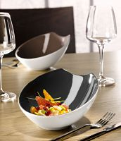 Die Porzellan-Serie CONTRAST von VEGA: Neu sind die eleganten Schalen in Anthrazit und Taupe.