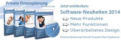 """Die Softwareneuheiten 2014: """"Meine Finanzen 2014"""", """"Haushaltsbuch 2014"""" und  """"Immobilien mieten, kaufen oder bauen 2014"""""""